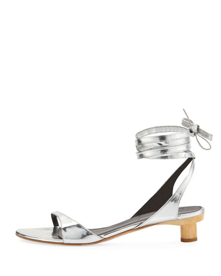 ff556ae7e Tibi Scott Metallic Ankle-Wrap Sandal