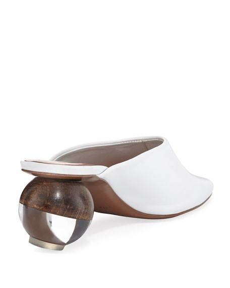 Leather Mule with Cylinder Heel