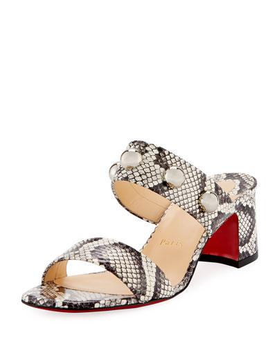 Simple Bille Snakeskin Red Sole Sandal