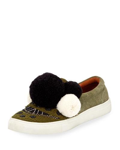 Karita Suede Pompom Slip-On Sneaker