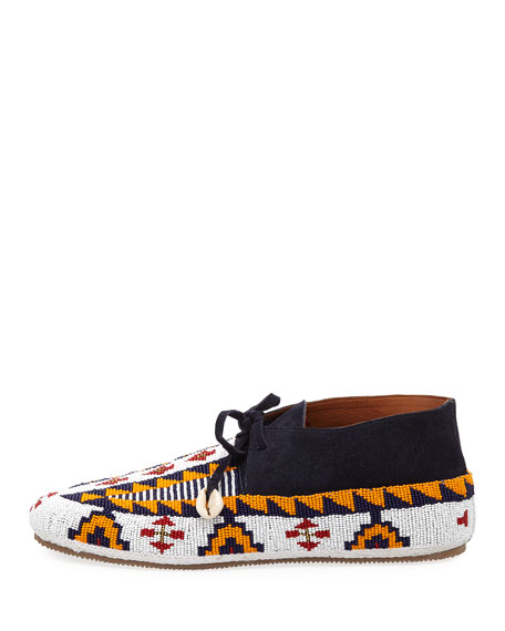 Wolf Beaded Suede Moccasin