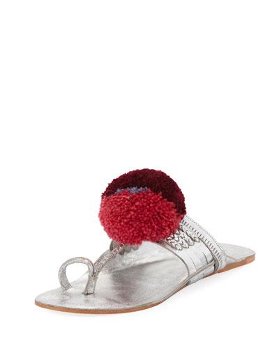 Leo Metallic Toe-Ring Pompom Sandal