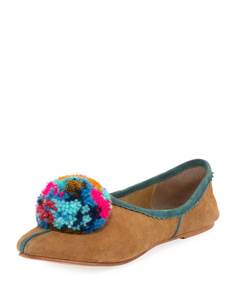 Figue Ines Suede Pompom Flat
