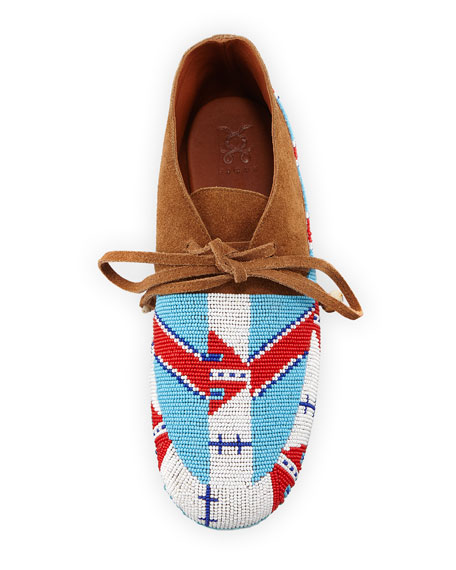 Wolf Beaded Flat Moccasin