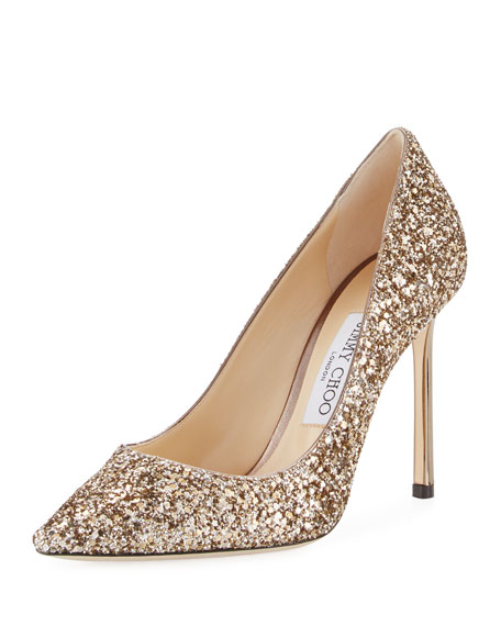 0b72deb5a03 Jimmy Choo Romy Glitter Pointed-Toe 100mm Pump