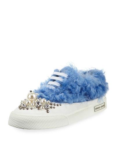 Beaded Faux-Fur Low-Top Sneaker