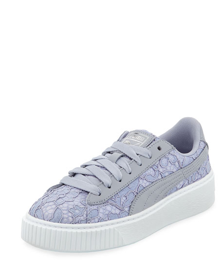 Leather & Lace Low-Top Sneakers, Gray/Blue