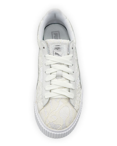 Leather & Lace Low-Top Sneakers, White