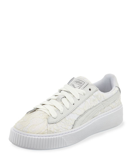 be197385b7c399 Leather   Lace Low-Top Sneakers White