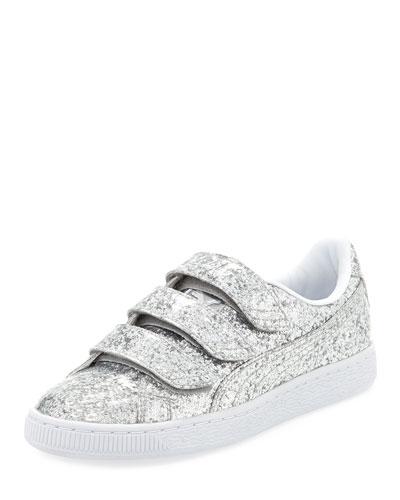 Three-Strap Glittered Low-Top Sneaker, Gray