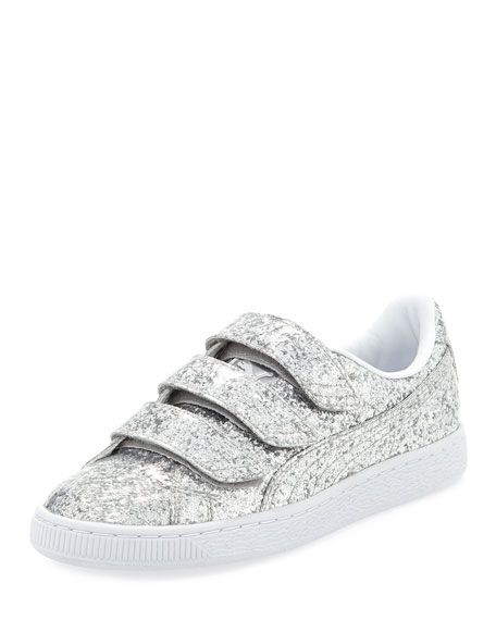 Three-Strap Glittered Low-Top Sneaker, Gray