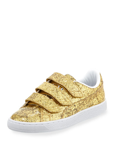 Three-Strap Glittered Low-Top Sneaker, Gold