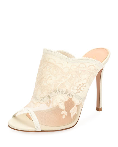 Scalloped Lace 105mm Mule Pump