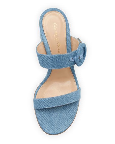 Denim Two-Band Slide Sandal