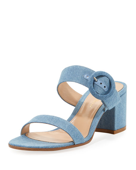 c06fa08fe961 Gianvito Rossi Denim Two-Band Slide Sandal