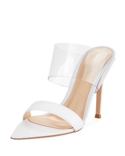 Leather Plexi Slide Sandal