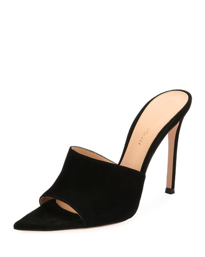 Pointy One-Band Suede Mule Sandal