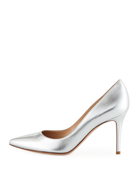 Metallic Leather Point-Toe Pump
