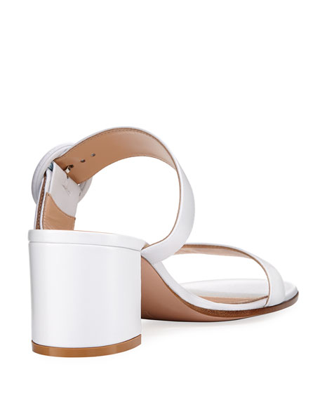 Leather Two-Strap Buckle Slide Sandal