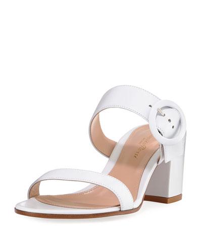 Leather Two-Strap Buckle Slide Sandal