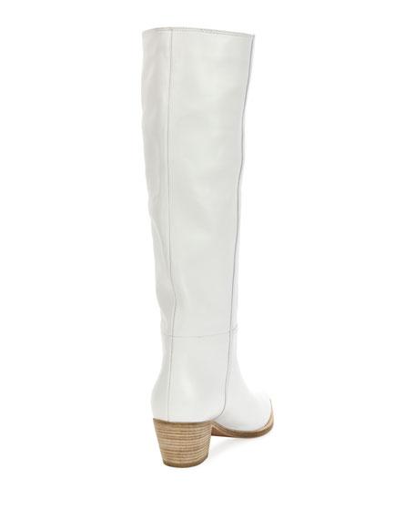 Napa Leather Block-Heel Knee Boot