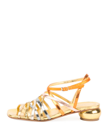 Metallic Strappy Low-Heel Sandal