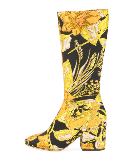Tall Floral Brocade Block-Heel Boot