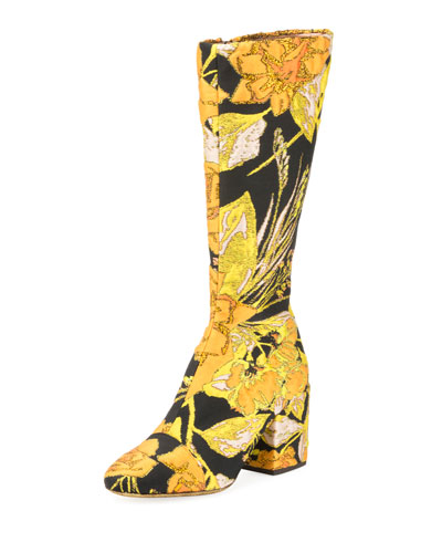 Tall Floral Brocade Block-Heel Boot