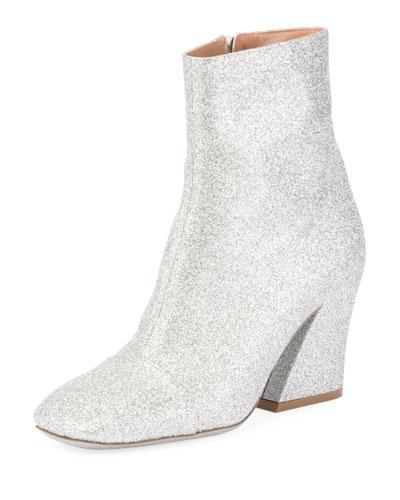Glitter Coated Block-Heel Boot