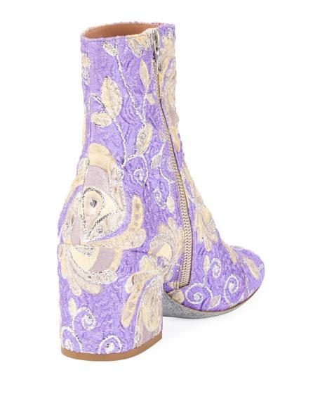 Floral Brocade Block-Heel Boot