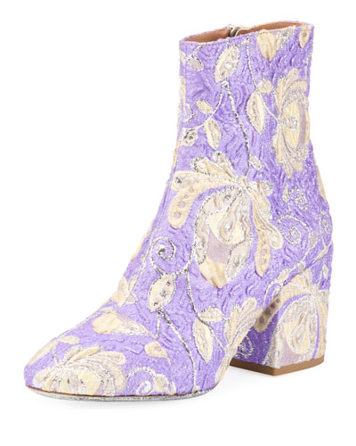 Floral Brocade Block-Heel Boot