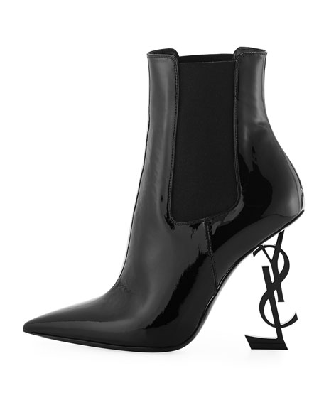 Opyum Patent Bootie with Monogram Heel