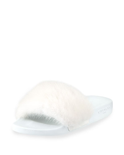 Mink-Fur Slide Pool Sandal
