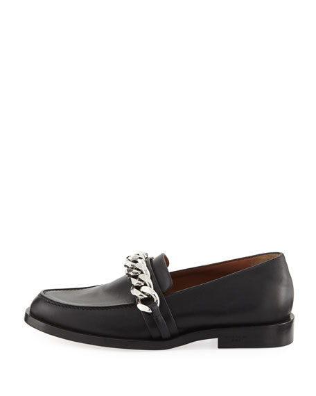 Smooth Chain-Trim Loafer, Black