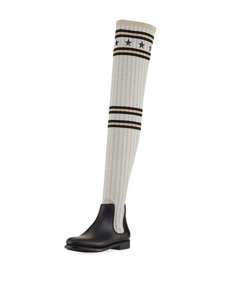 50f1b853c Givenchy Storm Over-The-Knee Knitted Rain Boot