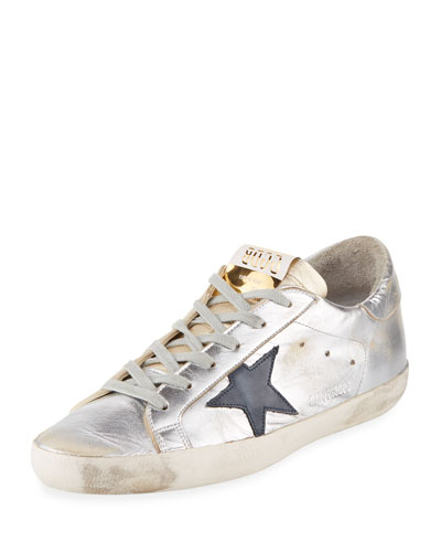 Metallic Leather Star Low-Top Sneaker