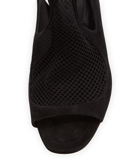 Piper Suede Open-Toe Fishnet Sandal
