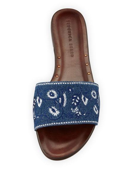 Flor Embroidered Denim Flat Slide Sandal