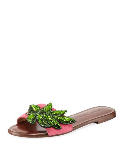 Flor Sequined Suede Flat Slide Sandal