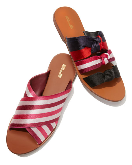 Bailie-2 Striped Crisscross Flat Slide Sandal