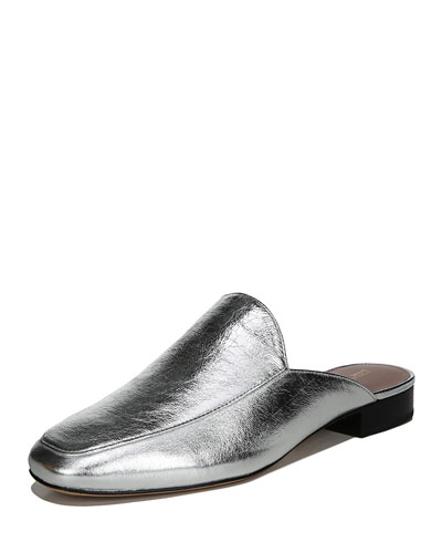 Lexington Flat Metallic Leather Mule