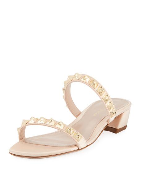 Stella Studded Two-Band Block-Heel Sandal