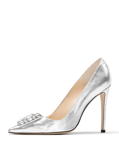 Ornament-Detailed Metallic Leather Pumps, Silver
