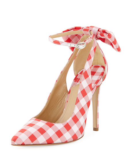 Fiona Bow-Embellished Gingham Canvas Pumps, Red/White