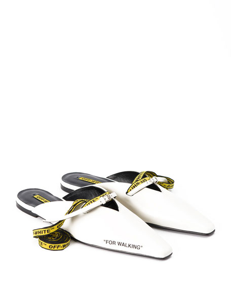 For Walking Leather Mule Slide Flat, White