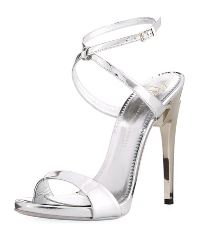 Bolt-Heel Metallic Leather Ankle-Wrap Sandal