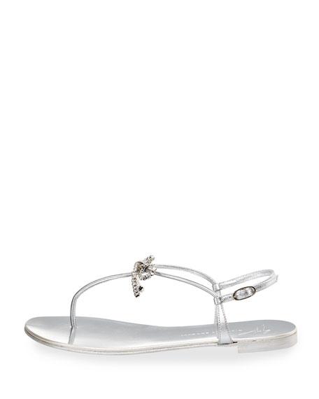 Metallic Leather Bow Thong Sandal