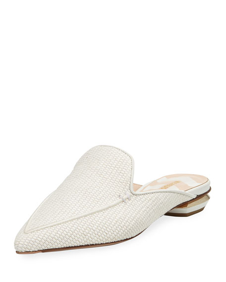 Beya Flat Chunky Raffia Loafer Mule with Metallic Detail