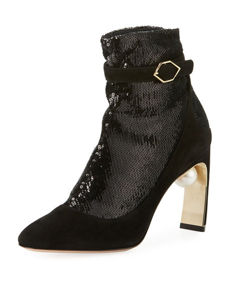Lola Sequined Sock Pump-Illusion Ankle Boot