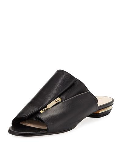 Kristen Zip-Trim Leather Mule Slide Sandal - Golden Hardware